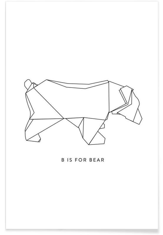 Ours, Noir & blanc, Origami d'ours affiche