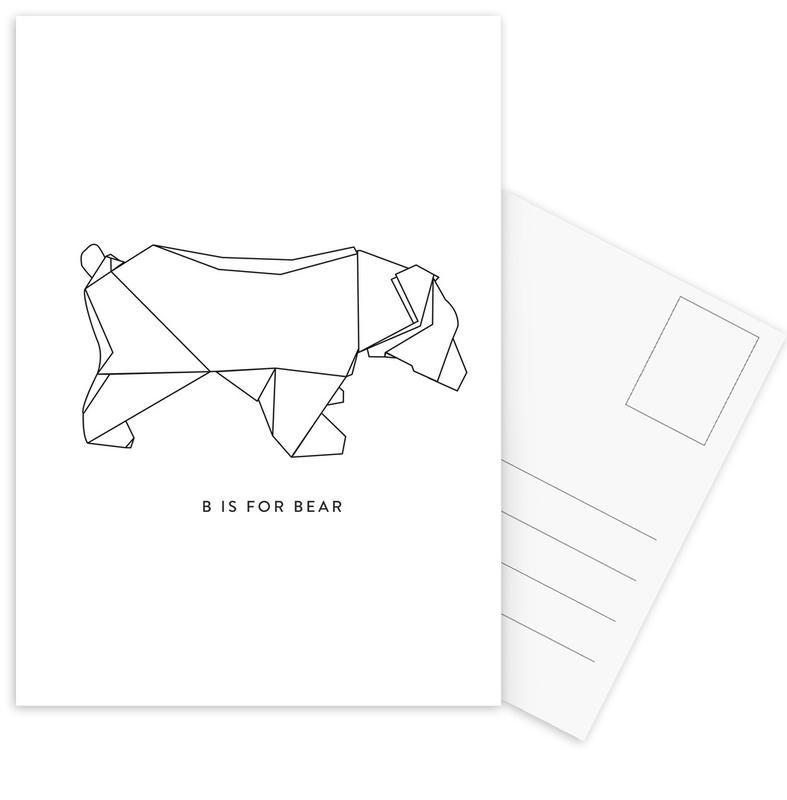 Bears, Black & White, B Postcard Set