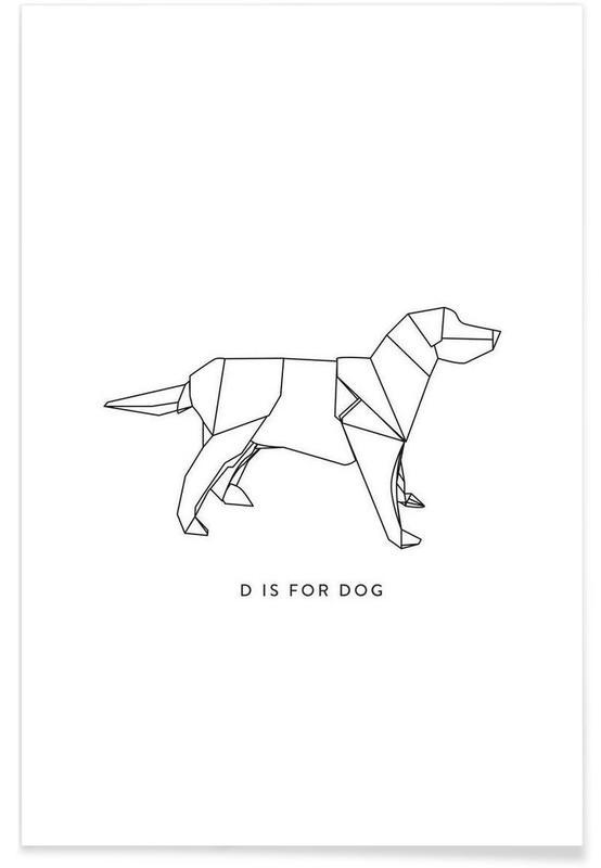 Chiens, Noir & blanc, Origami de chien affiche