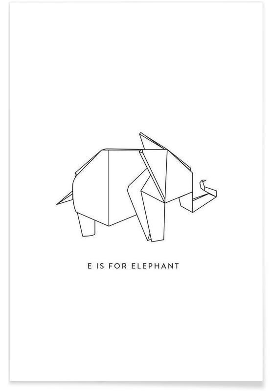 Noir & blanc, Éléphants, Origami d'éléphant affiche