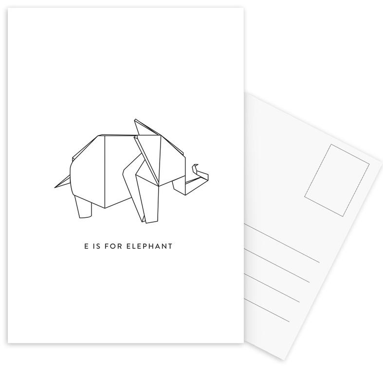 Black & White, Elephants, E Postcard Set