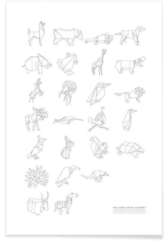 Alphabet et lettres, Noir & blanc, Lamas, Almost Animal Alphabet affiche