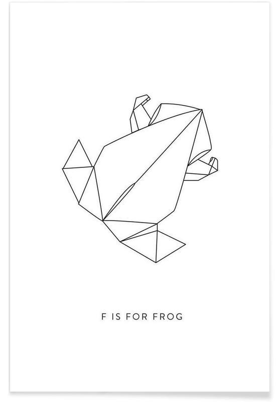 Schwarz & Weiß, Frösche, Origami-Frosch -Poster