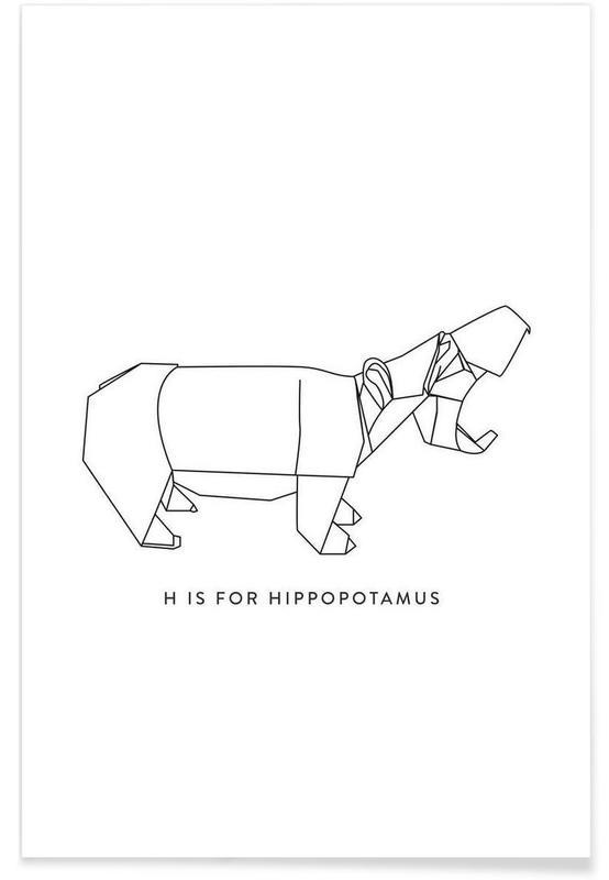 Black & White, Hippos, Origami Hippopotamus Poster