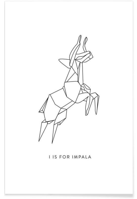 Cerfs, Noir & blanc, Origami d'impala affiche