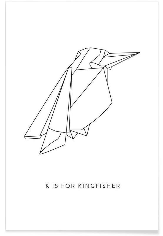 Noir & blanc, Origami de martin-pêcheur affiche