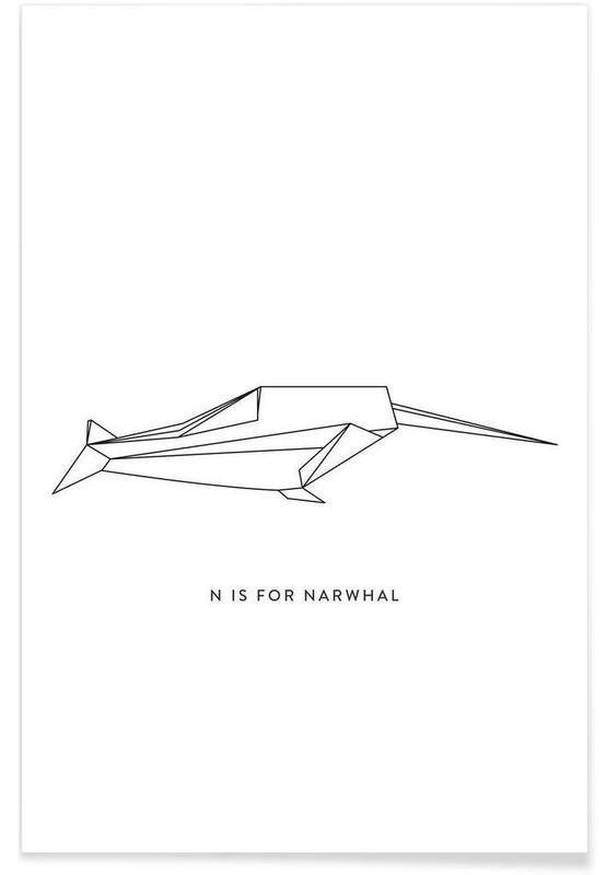 Noir & blanc, Origami de narval affiche