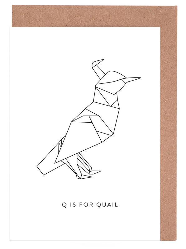 Alphabet et lettres, Noir & blanc, Q cartes de vœux