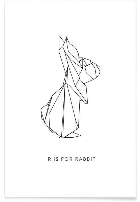 Lapins, Noir & blanc, Origami de lapin affiche