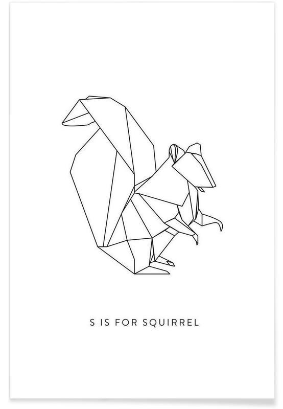 Ecureuils, Noir & blanc, Origami d'écureuil affiche