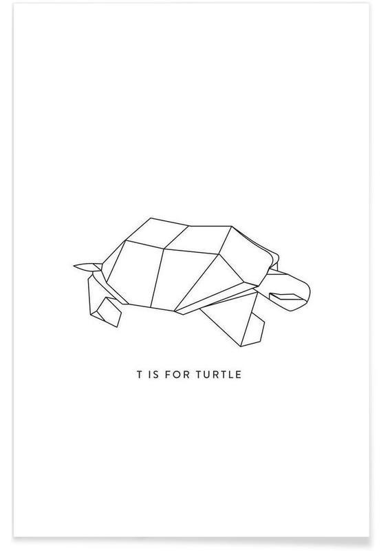 Noir & blanc, Tortues, Origami de tortue affiche