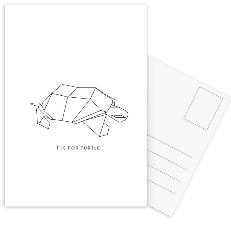 Black & White, Turtles, T Postcard Set
