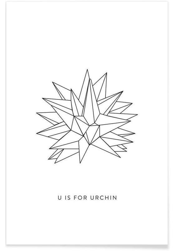 Alphabet et lettres, Noir & blanc, Origami d'oursin affiche