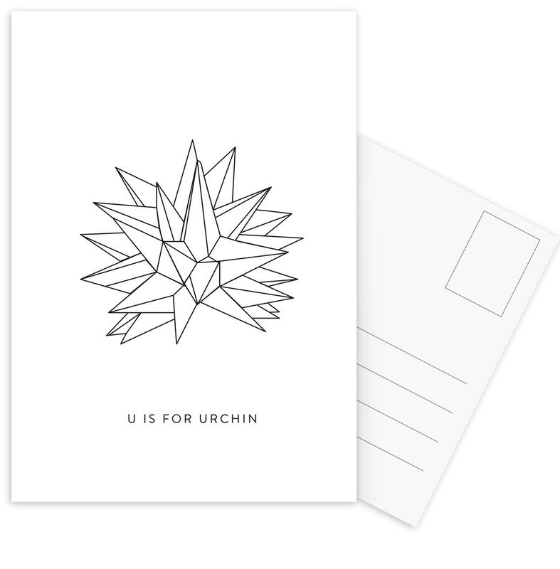 Alphabet & Letters, Black & White, U Postcard Set