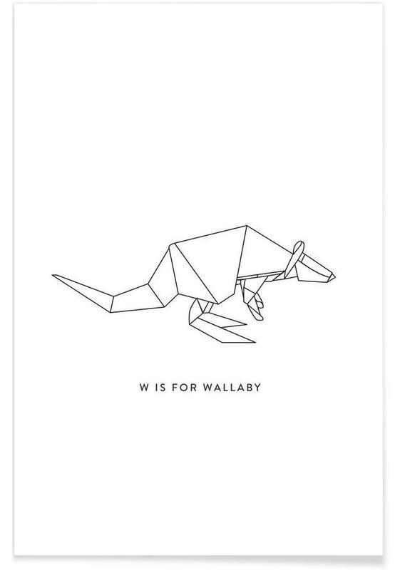 Noir & blanc, Origami de wallaby affiche