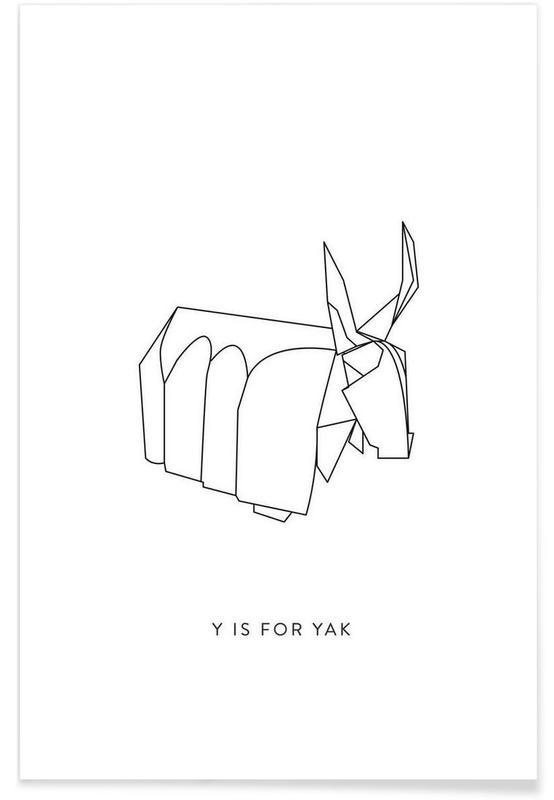 Noir & blanc, Origami de yak affiche