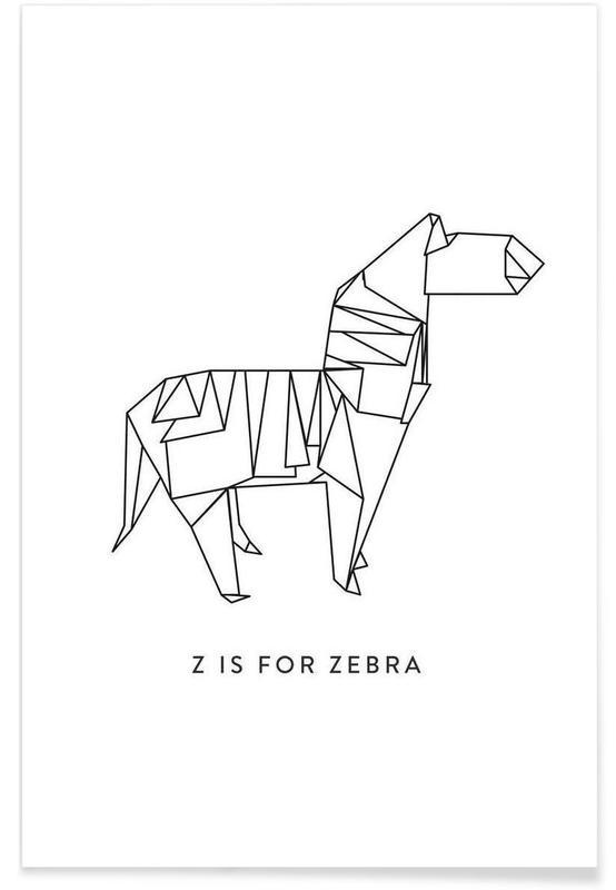 Zèbres, Noir & blanc, Origami de zèbre affiche