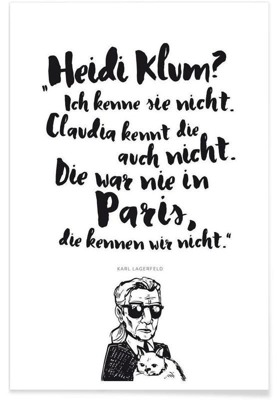 Noir & blanc, Citations et slogans, Heidi war noch nie in Paris affiche