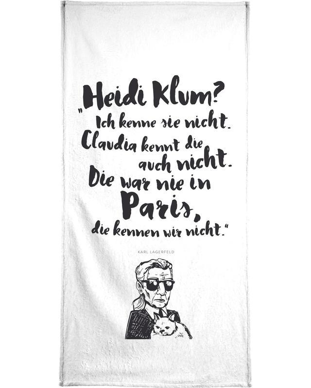 Noir & blanc, Citations et slogans, Heidi war noch nie in Paris serviette de bain