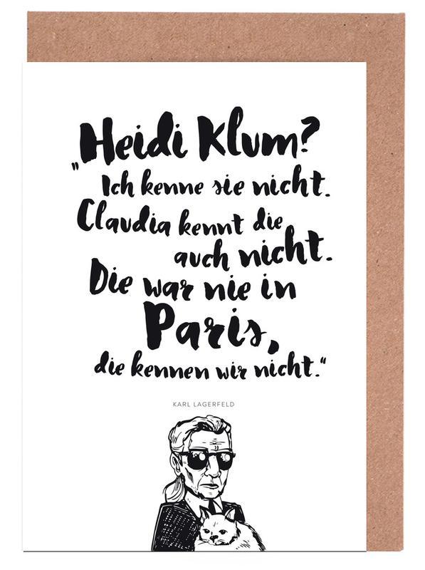 Black & White, Quotes & Slogans, Heidi war noch nie in Paris Greeting Card Set