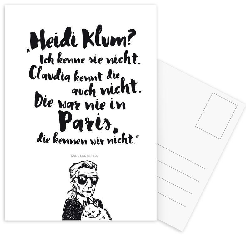 Black & White, Quotes & Slogans, Heidi war noch nie in Paris Postcard Set