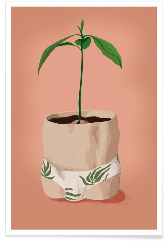 Funny, Leaves & Plants, Avocado Slip Poster