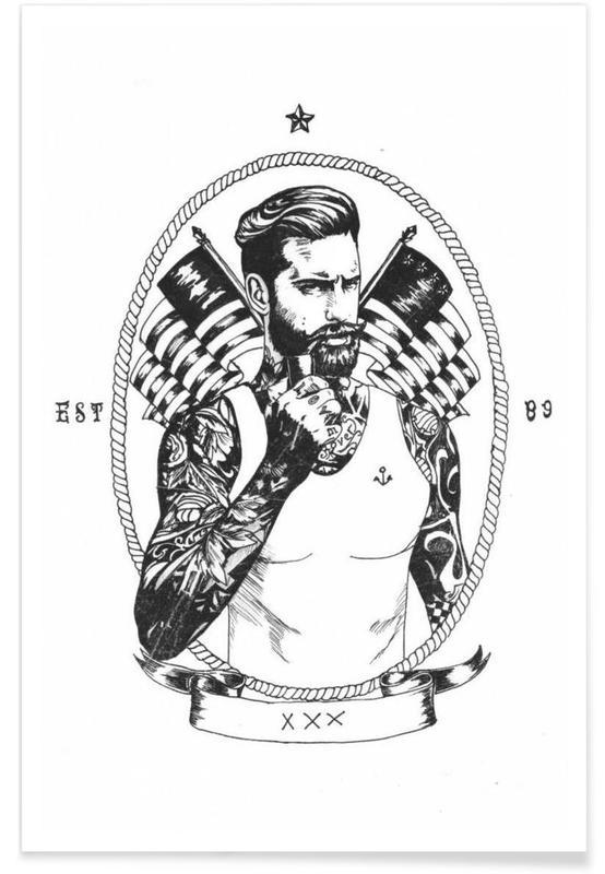 Black & White, Retro, American Sailor Poster