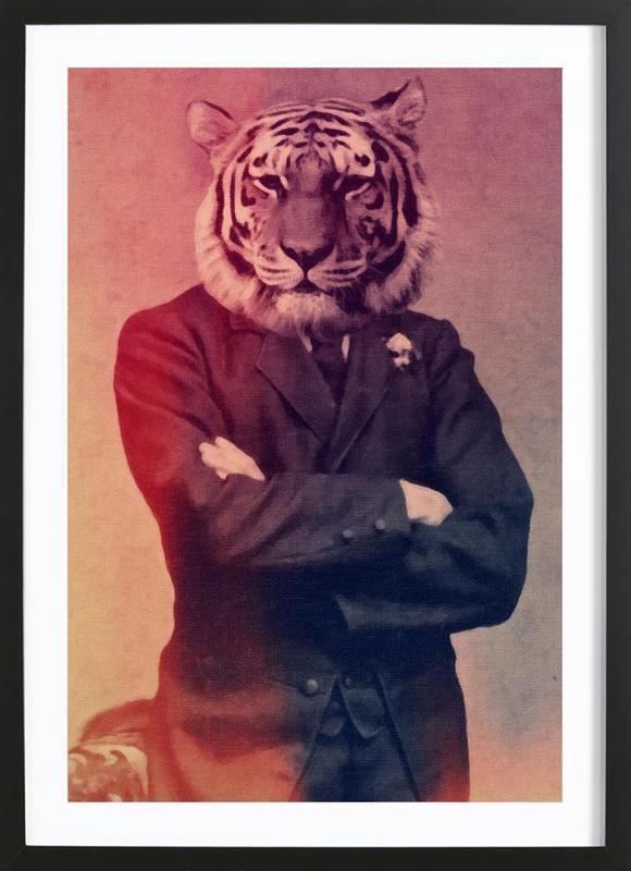 Old Timey Tiger -Bild mit Holzrahmen