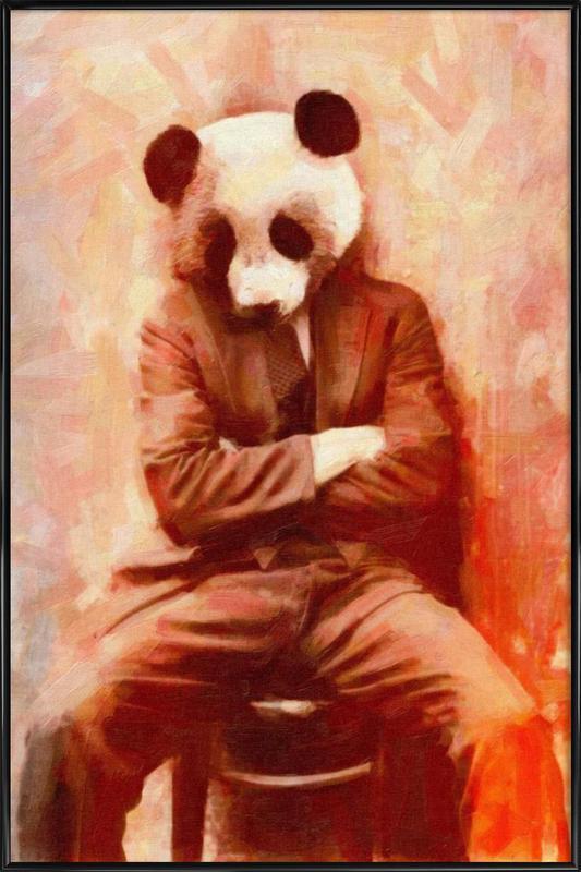 Sad Panda -Bild mit Kunststoffrahmen