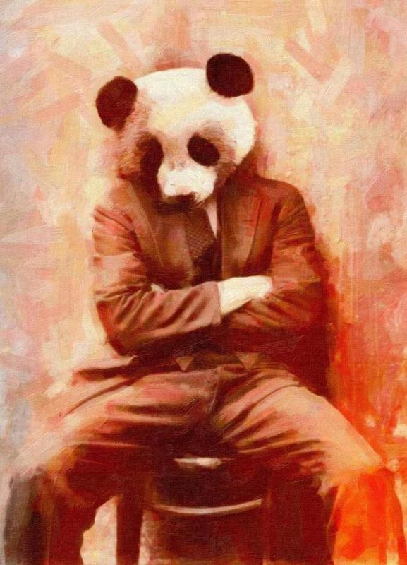 Sad Panda canvas doek