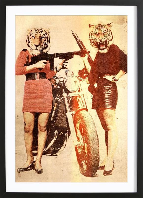 Tiger Girls -Bild mit Holzrahmen