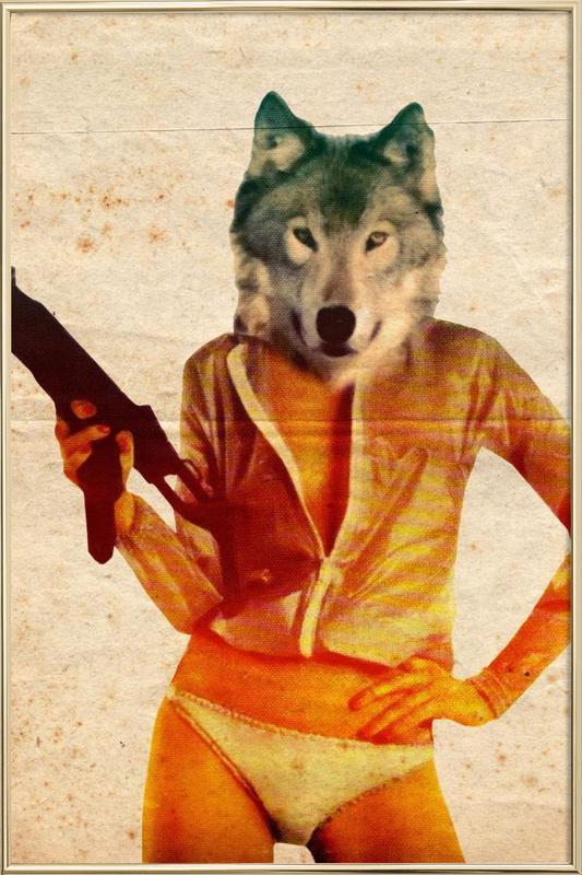 Wolf Girl -Poster im Alurahmen