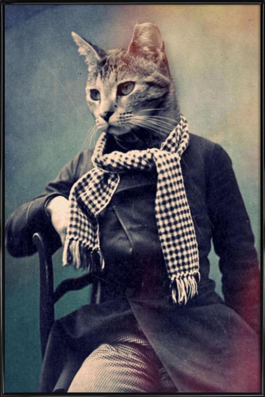 Cat in Scarf -Bild mit Kunststoffrahmen