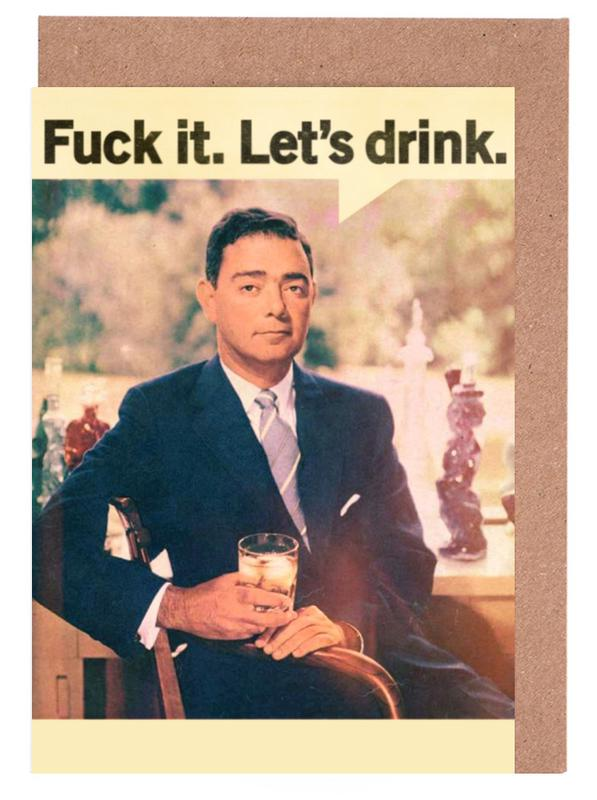 Cocktails, Wein, Whiskey, Retro, Lustig, Let's Drink -Grußkarten-Set