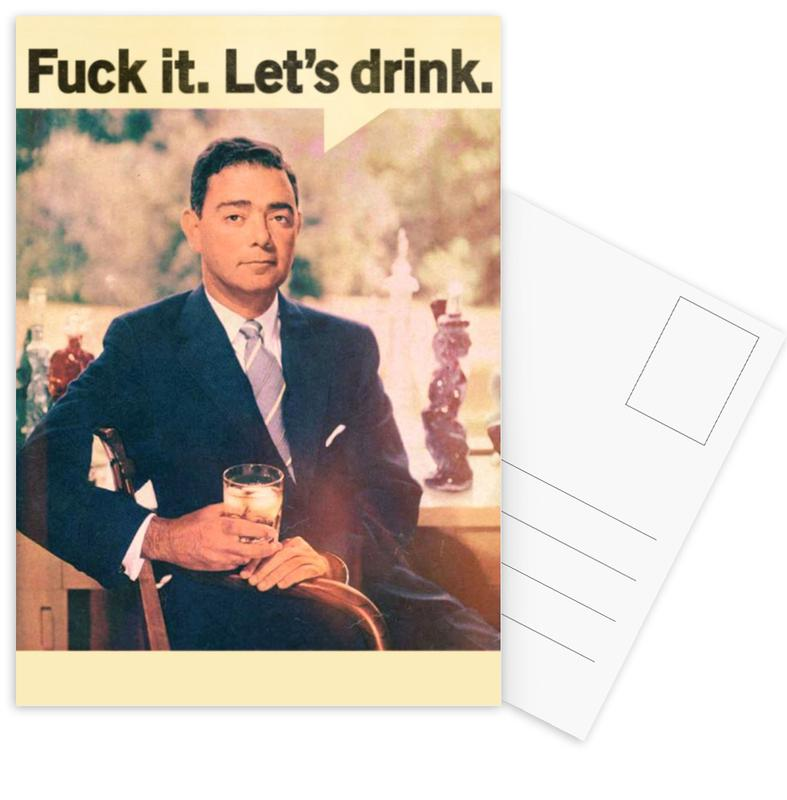 Funny, Cocktails, Wine, Retro, Whiskey, Let's Drink Postcard Set