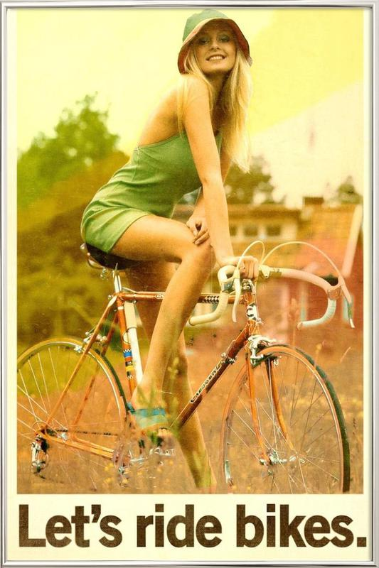 Let's Ride Bikes poster in aluminium lijst