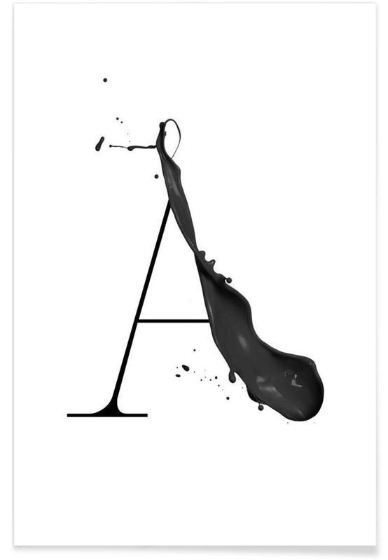 Alphabet & Buchstaben, Schwarz & Weiß, Artsy A -Poster
