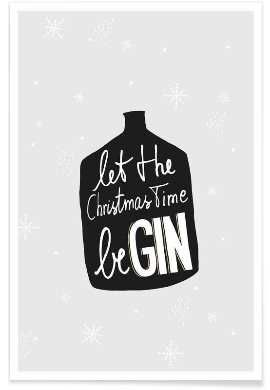 Cocktails, Christmas, Black & White, Begin Poster