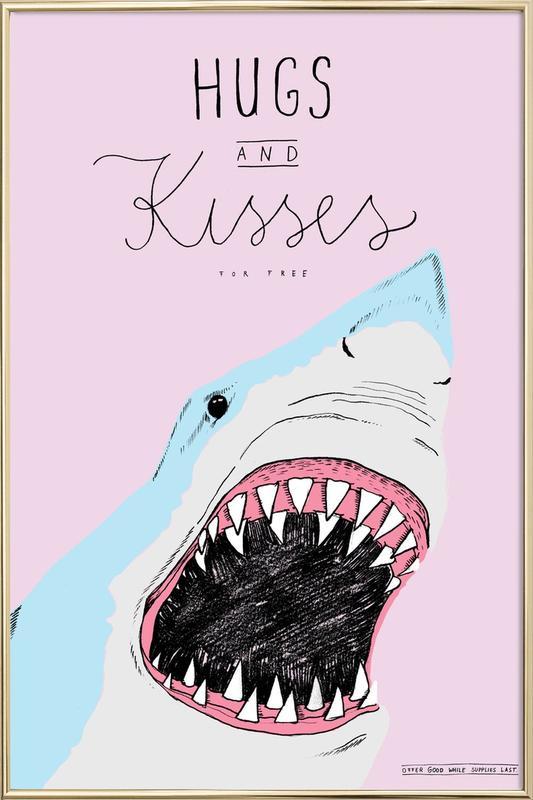 Hugs and Kisses poster in aluminium lijst