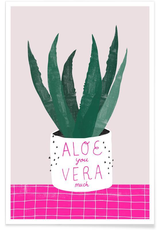 Feuilles & Plantes, Saint-Valentin, Aloe Vera affiche