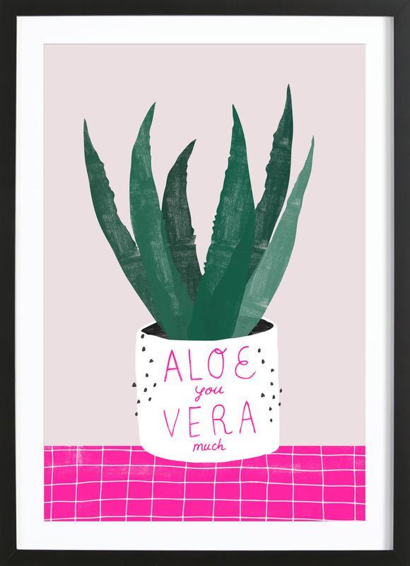 Aloe Vera -Bild mit Holzrahmen