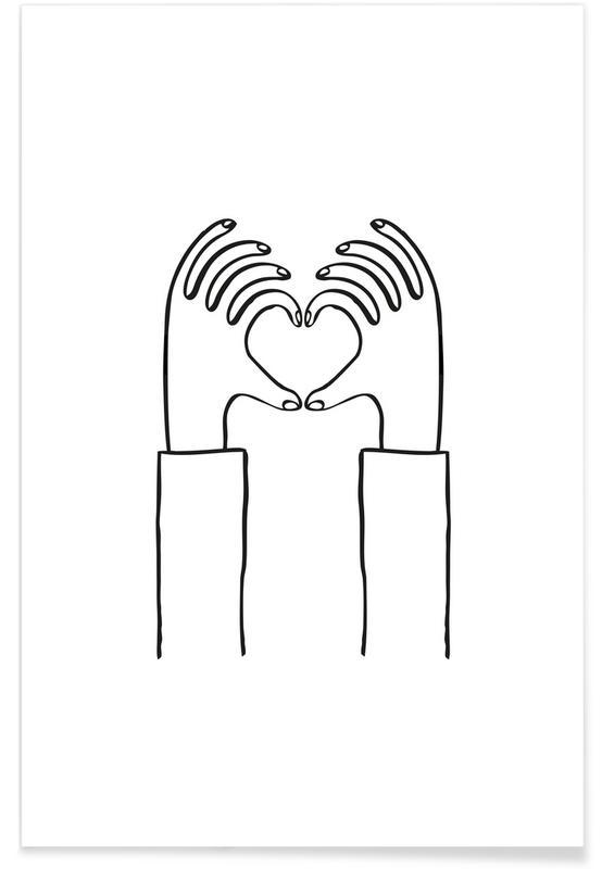 Sort & hvidt, Valentinsdag, Heart You Plakat