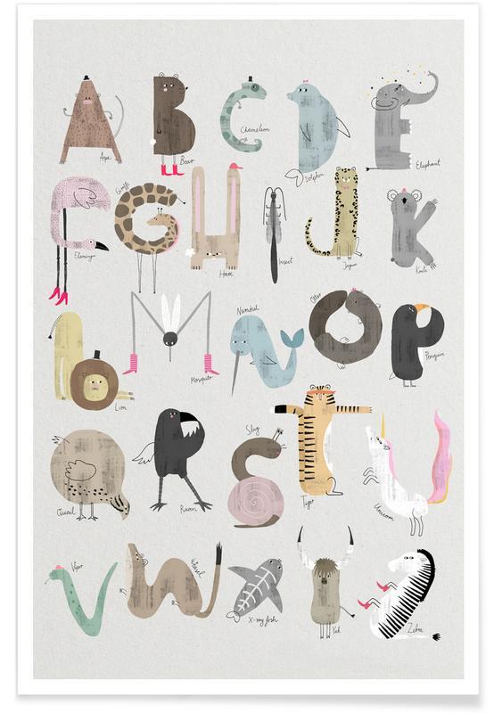 Alfabet og bogstaver, Børneværelse & kunst for børn, Nursery Animal Alphabet Plakat