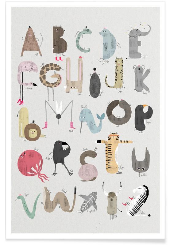 Alfabet og bogstaver, Børneværelse & kunst for børn, ABC Kids Plakat