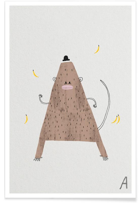 Nursery & Art for Kids, Alphabet & Letters, Monkeys, Animal Alphabet A Poster