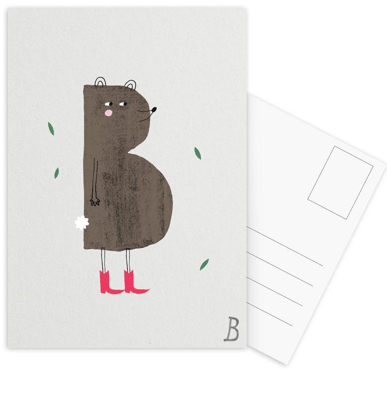 Alphabet & Buchstaben, Bären, Kinderzimmer & Kunst für Kinder, ABC Kids - B -Postkartenset