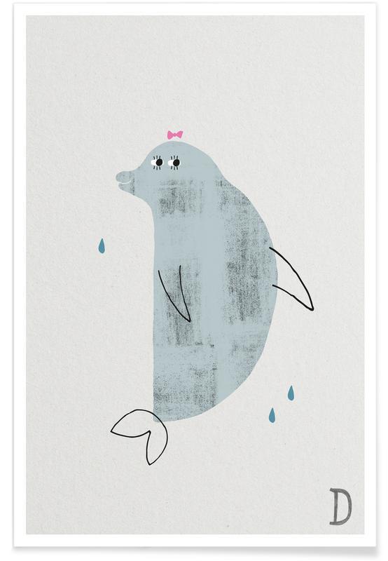 Art pour enfants, Alphabet et lettres, Dauphins, D - Alphabet des animaux affiche