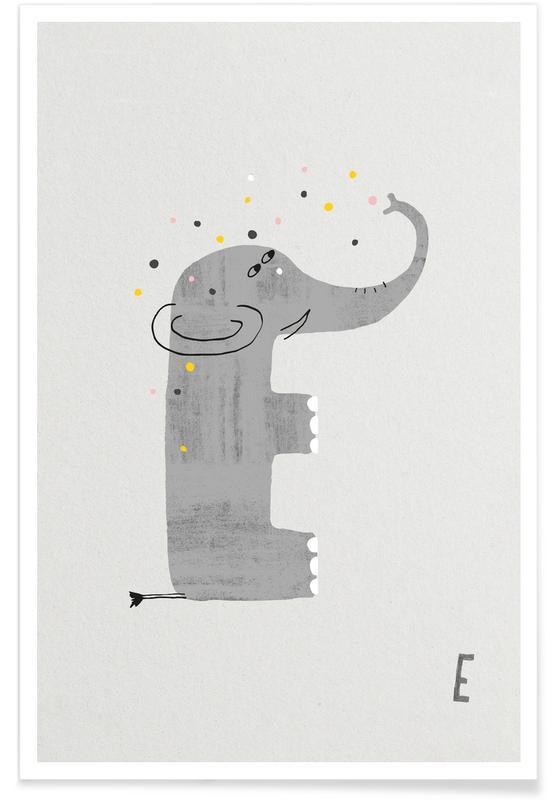 Art pour enfants, Alphabet et lettres, Éléphants, E - Alphabet des animaux affiche