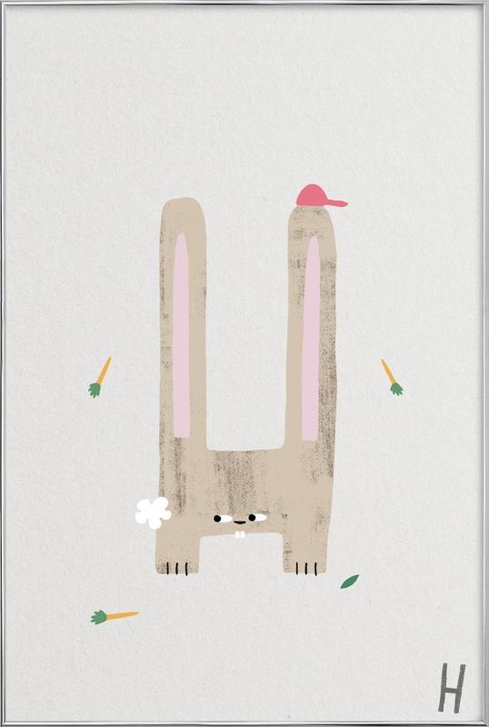 ABC Kids - H Poster in Aluminium Frame