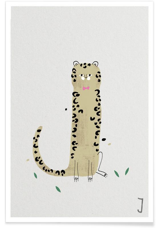 Art pour enfants, Alphabet et lettres, Jaguars, J - Alphabet des animaux affiche
